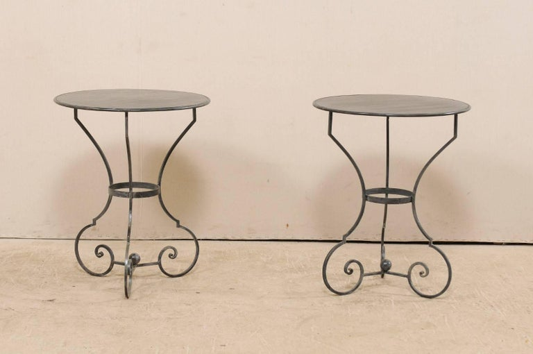 Pair Of Petite Round Metal Gueridon Bistro Tables With Scrolled Legs