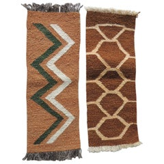 Pair of Petite Vintage Camel and Brown Woven Rug Samples