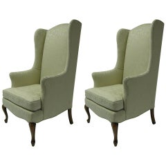 Pair of Petite Wing Back Armchairs In White Damask