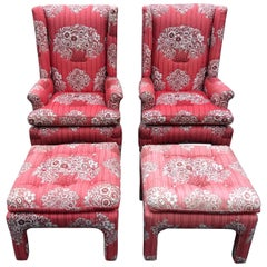 Pair of Petite Wing Back Chairs with Matching Ottomans