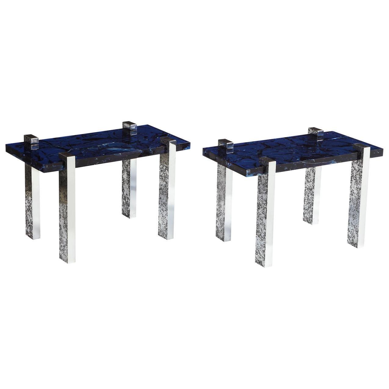 """Pair of """"Petram"""" Side Tables by Arriau"""