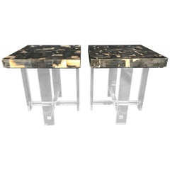 Pair of Petrified Wood Top Side Tables