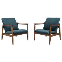 Pair of Petrol Blue Armchairs, Edmund Homa, 1960s