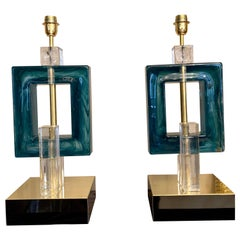 Pair of Petrol Green Murano Table Lamps, 1980s