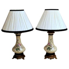 Porcelain de Paris Napoleon III  French Pair of Petrol Lamps with Lampshade