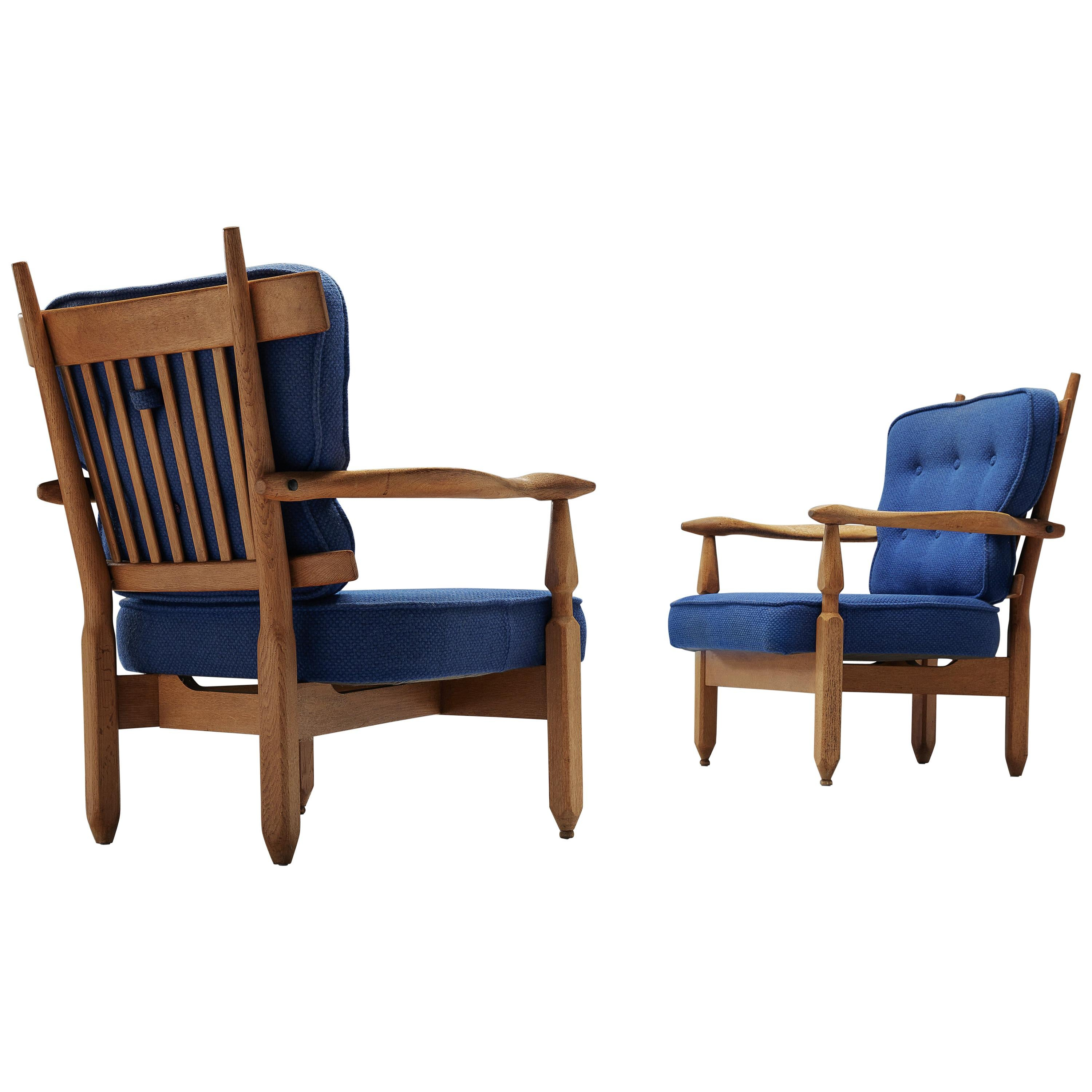 """Pair of """"Petronille"""" Lounge Chairs by Guillerme et Chambron"""