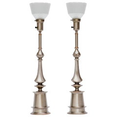 Pair of Pewter and Copper Lamps by Rembrandt