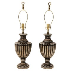 Pair of Pewter Finish Ceramic Urn Lamps
