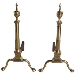 Pair of Philadelphia Brass Andirons