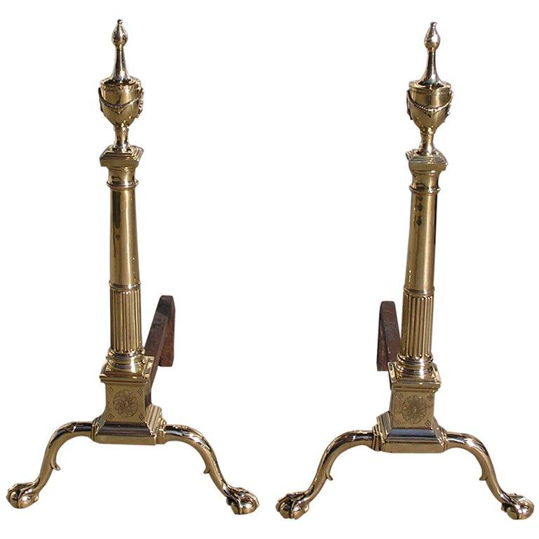 Pair of Philadelphia Brass Andirons For Sale