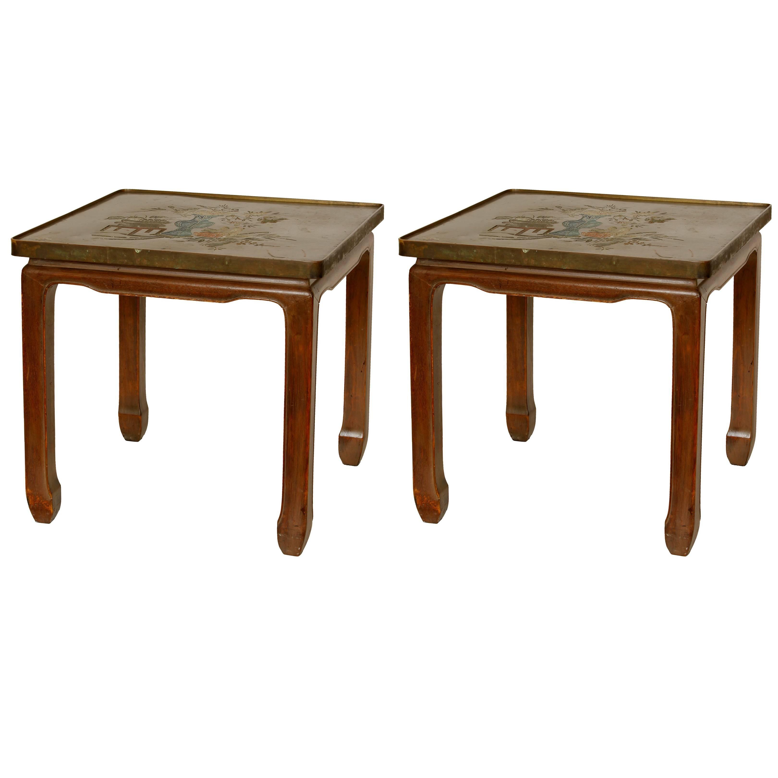 Pair of Philip & Kelvin Laverne Bronze Side Tables