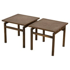 Pair of Philip and Kelvin Laverne Acid Etched Bronze Side Tables