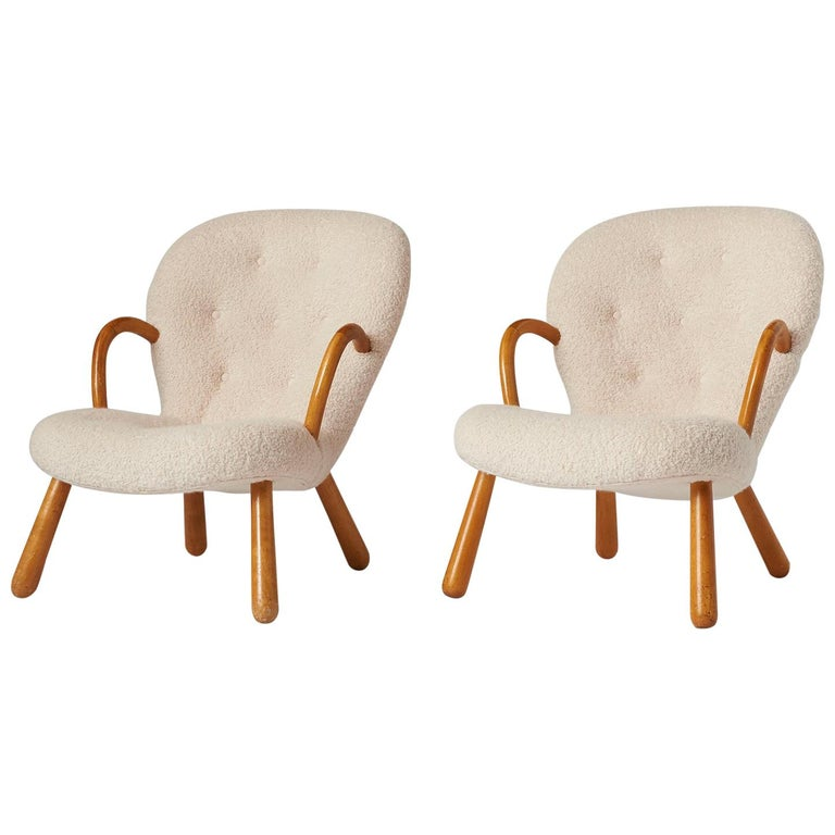 """Pair of Philip Arctander """"Clam"""" Chairs For Sale"""
