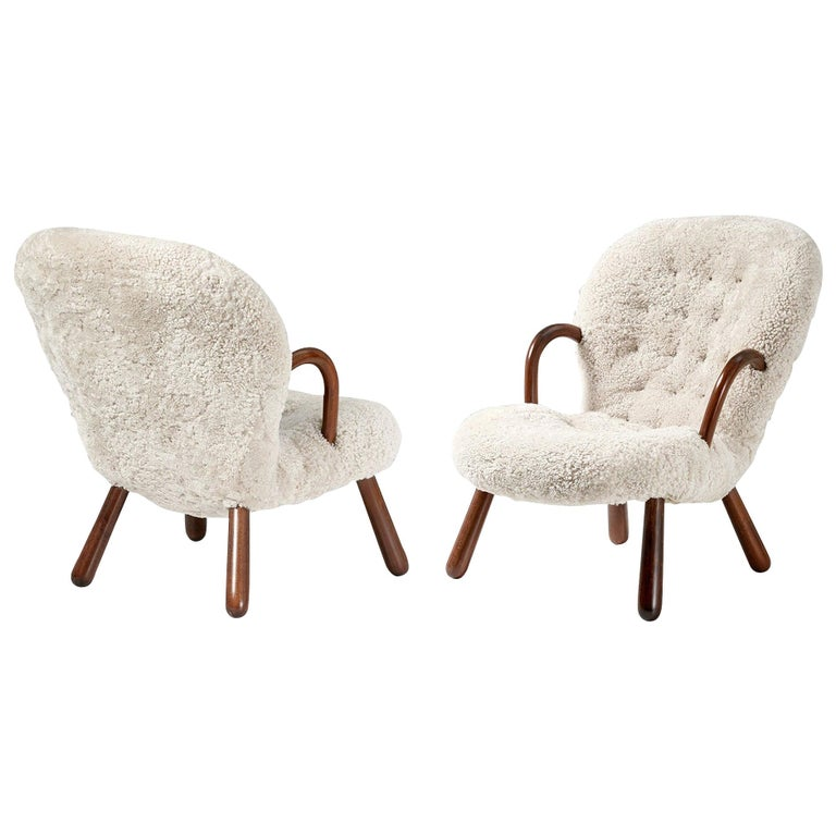 Philip Arctander pair of sheepskin Clam chairs, 1950s, offered by Dagmar