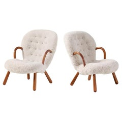 Pair of Philip Arctander Sheepskin Clam Chairs, 1950s