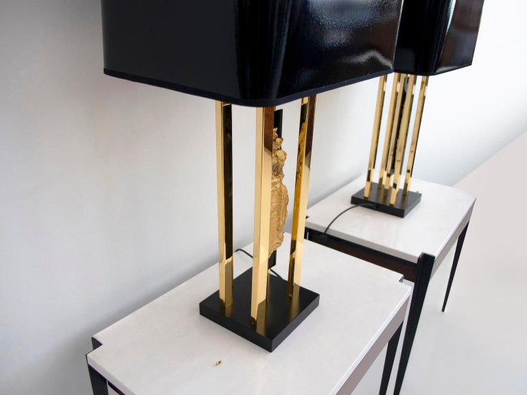 Pair of Philippe Cheverny Gold Table Lamps with Black Shades For Sale 1