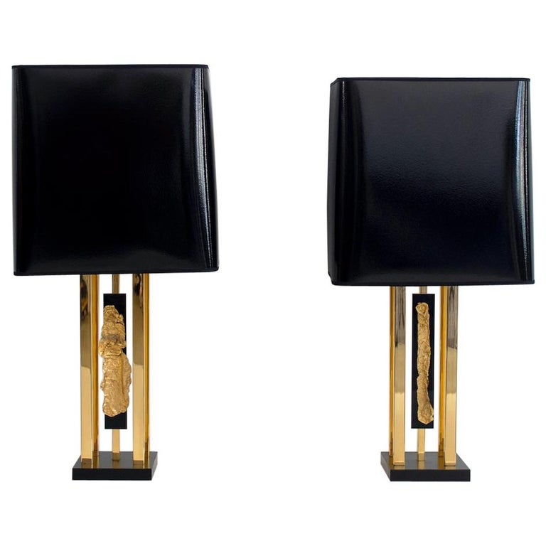 Pair of Philippe Cheverny Gold Table Lamps with Black Shades For Sale