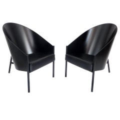 Philippe Starck Pair of Black Leather Armchairs Driade Aleph Model Pratfall
