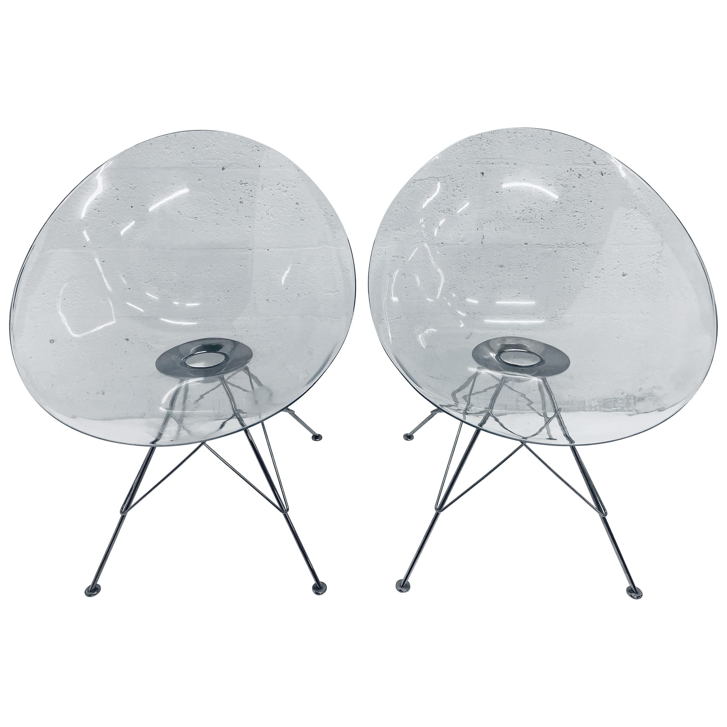"""Pair of Philippe Starck Clear Ghost """"Eros"""" Chairs for Kartell"""