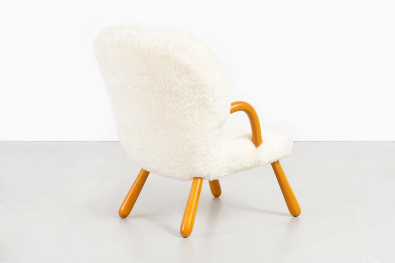 Pair of Philip Arctander Clam Chairs Freshly Reupholstered in Shearling In Excellent Condition For Sale In Chicago, IL