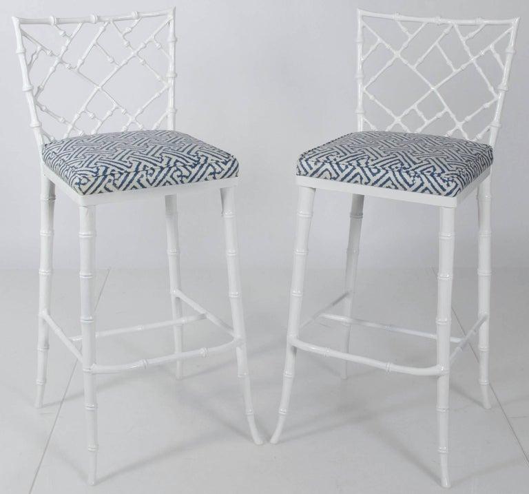 Enjoyable Pair Of Phyllis Morris White Metal Faux Bamboo Tall Machost Co Dining Chair Design Ideas Machostcouk