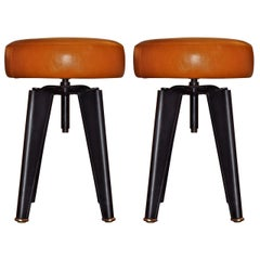 Pair of Piano Stools by Dominique for the Clemenceau Aircraft Carrier