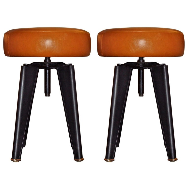 Pair of Piano Stools by Dominique for the Clemenceau Aircraft Carrier For Sale