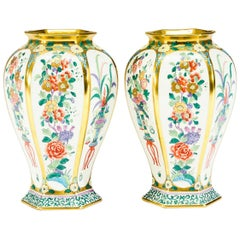 Pair of Pickard Hand Painted Artist Signed Japonesque Vases, circa1912
