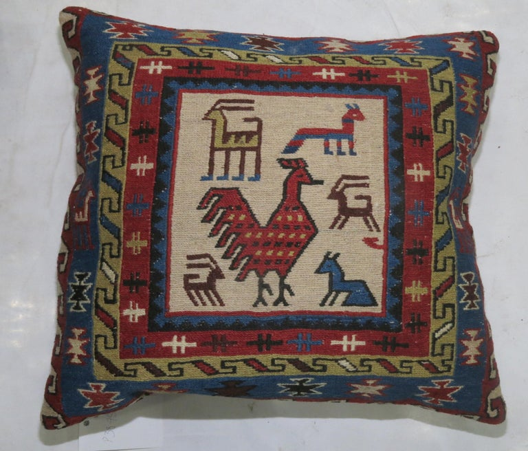 Rustic Pair of Pictorial Kilim Pillows For Sale