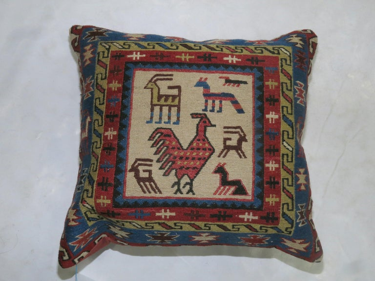 20th Century Pair of Pictorial Kilim Pillows For Sale