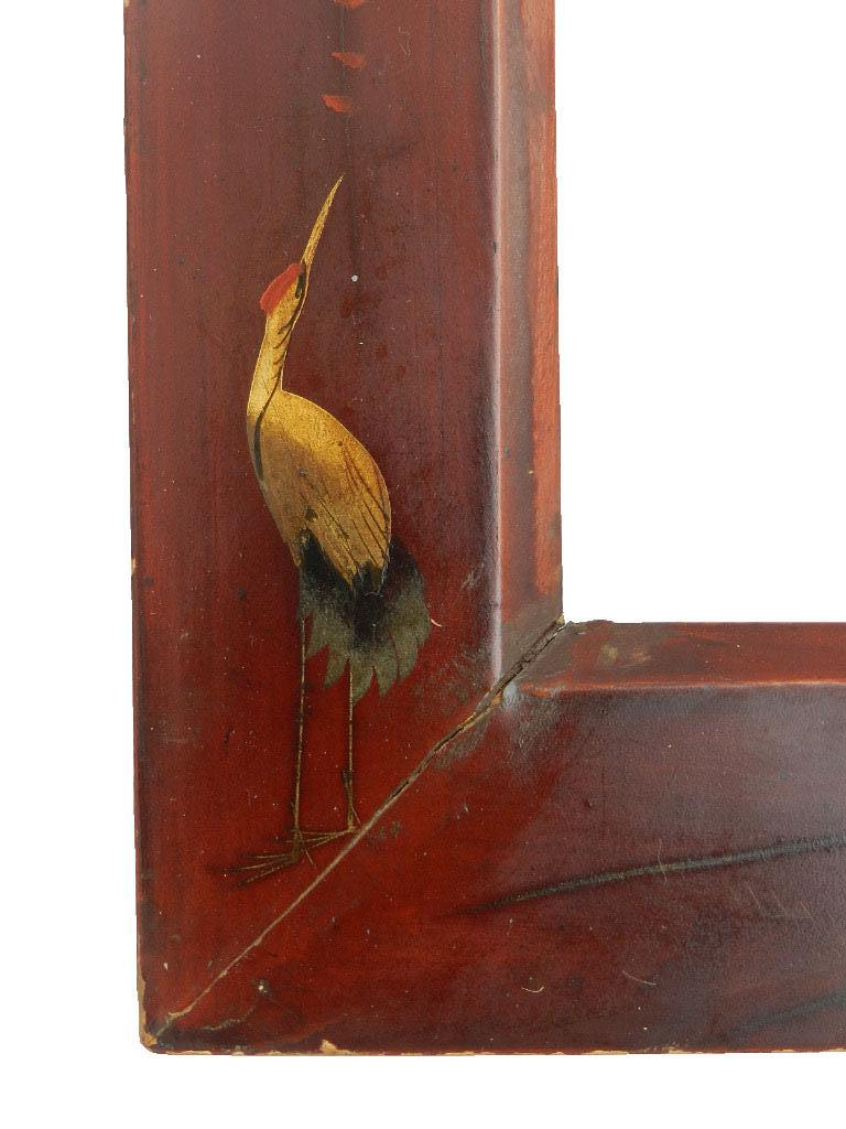 Pair of Chinoiserie picture or photograph frames dark red and gold vintage 20th century  Lacquer  Slightly distressed still solid and full of character corners are sound Very decorative  Picture size 14cms 5.11ins x 19.5cms 7.67ins or 24cms
