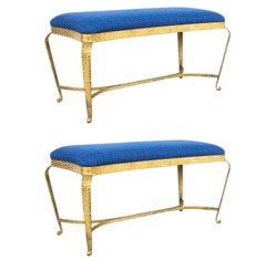 Pair of Pier Luigi Colli Gold Iron Bedroom Benches Blue Fabric, Italy, 1950