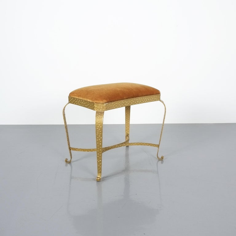 Pair of Pier Luigi Colli Gold Iron Clover Stools Red Fabric, Italy, 1950 For Sale 4