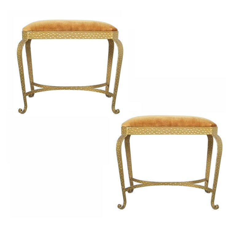 Pair of Pier Luigi Colli Gold Iron Clover Stools Red Fabric, Italy, 1950 For Sale 3