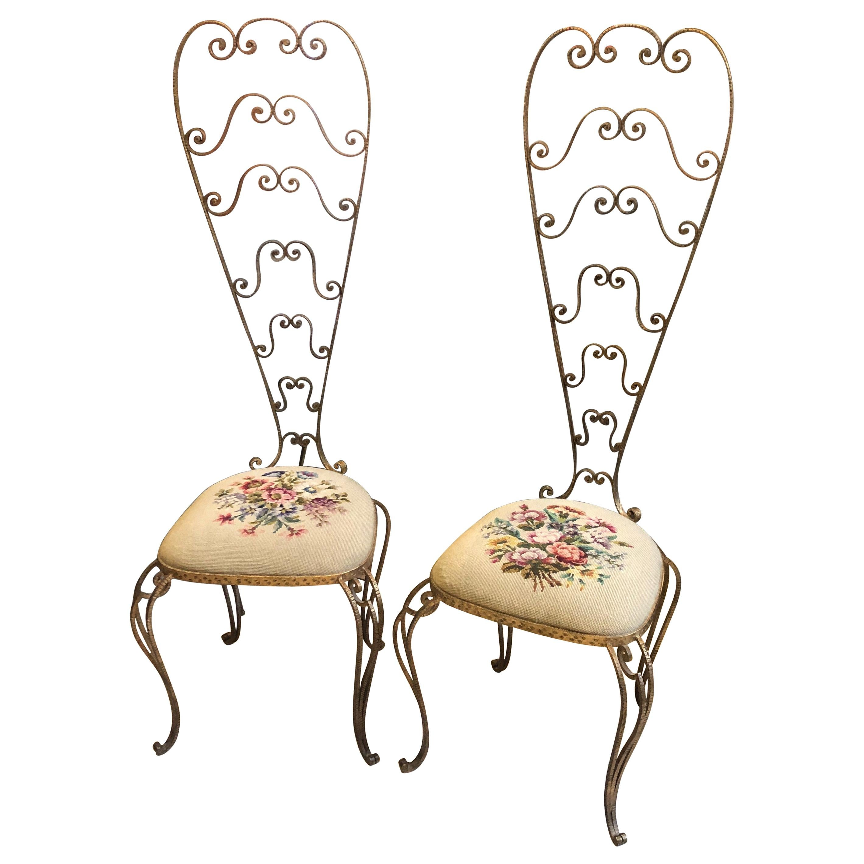 Pair of Pier Luigi Colli Mid-Century Modern Vanity Chairs, circa 1950