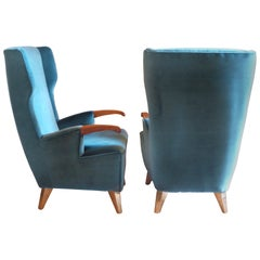 Pier Luigi Colli Midcentury Green Velvet Bergère Armchairs with Brass Feet, Pair