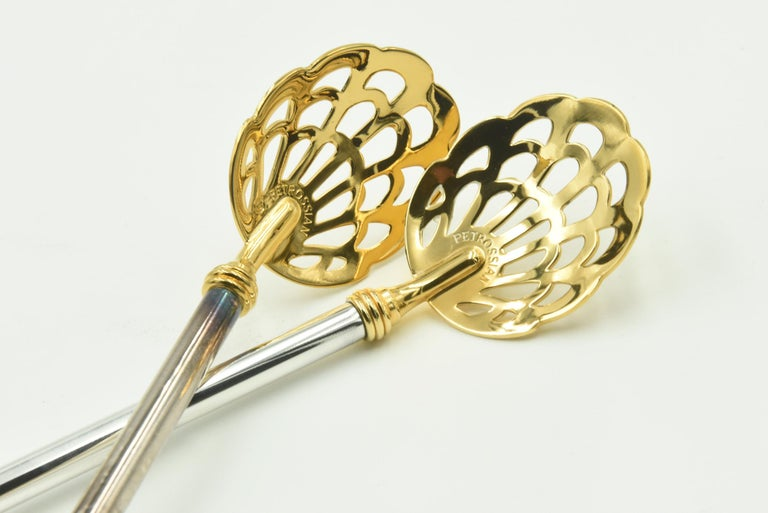 French Pair of Pierced Caviar Serving Spoons by Petrossian For Sale
