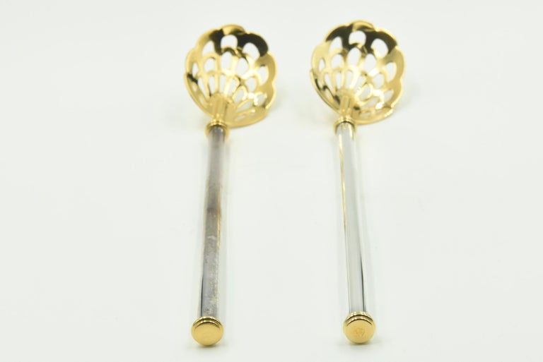 20th Century Pair of Pierced Caviar Serving Spoons by Petrossian For Sale