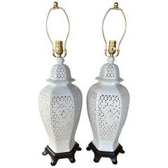 Pair of Pierced Chine De Blanc Ceramic Table Lamps Asian Ginger Jar Restored