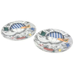 Pair of Piero Fornasetti Hot Air Balloon Race Porcelain Plates Vintage