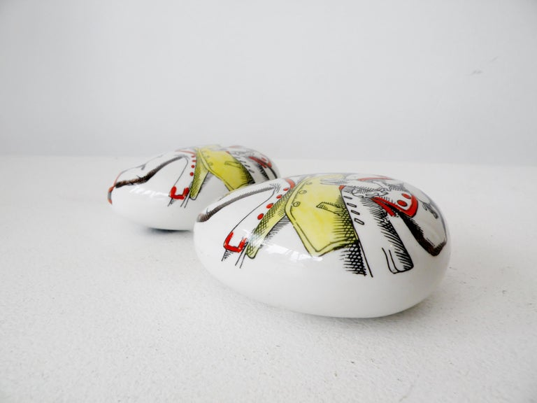 Italian Pair of Piero Fornasetti Italy Porcelain Pebble Paperweights For Sale