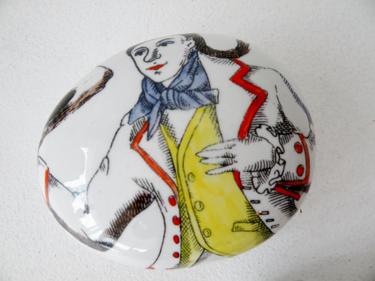 Pair of Piero Fornasetti Italy Porcelain Pebble Paperweights In Good Condition For Sale In Denver, CO