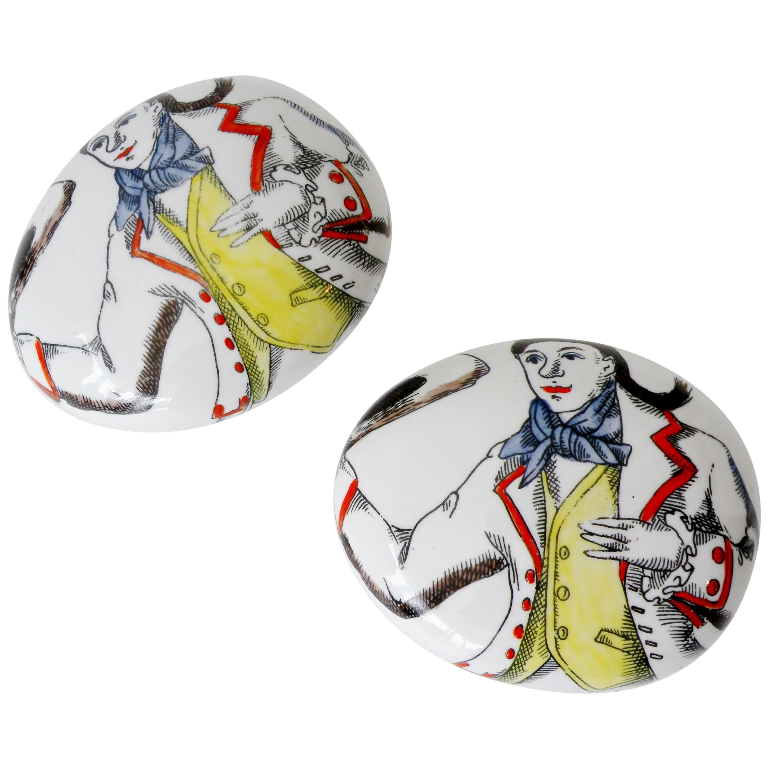 Pair of Piero Fornasetti Italy Porcelain Pebble Paperweights