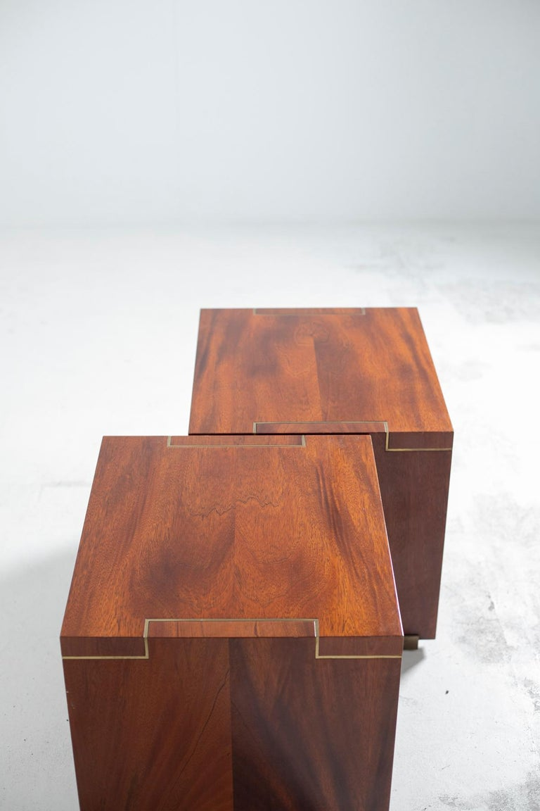 Pair of Pierre Balmain Original French Bedside Tables in Wood and Brass, 1980s For Sale 6