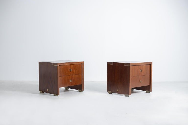 Pair of Classic and elegant original French bedside tables by Pierre Balmain from the 1980s. The nightstands are part of the
