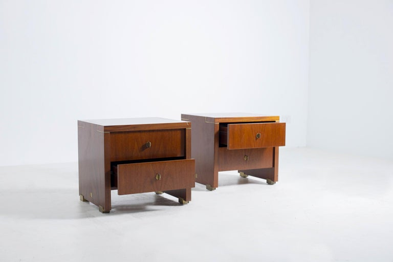 Modern Pair of Pierre Balmain Original French Bedside Tables in Wood and Brass, 1980s For Sale