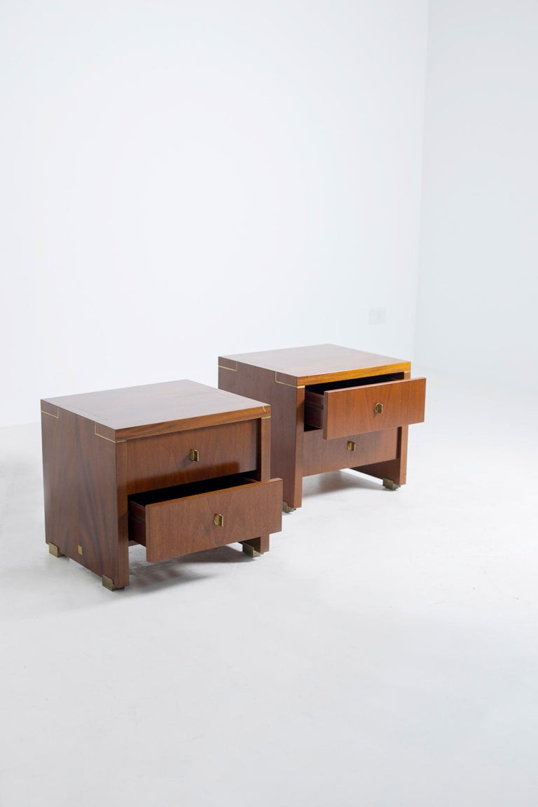 Pair of Pierre Balmain Original French Bedside Tables in Wood and Brass, 1980s In Good Condition For Sale In Milano, IT