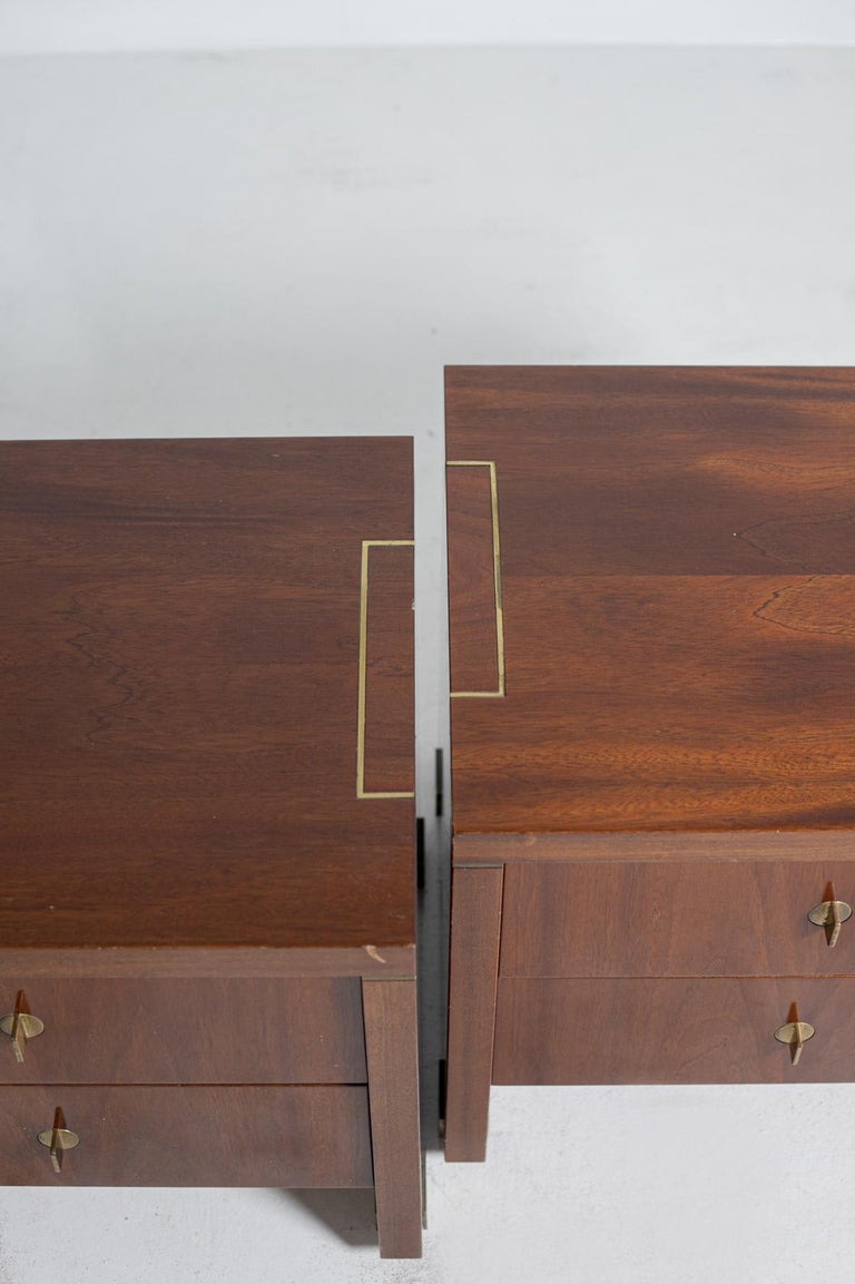 Late 20th Century Pair of Pierre Balmain Original French Bedside Tables in Wood and Brass, 1980s For Sale