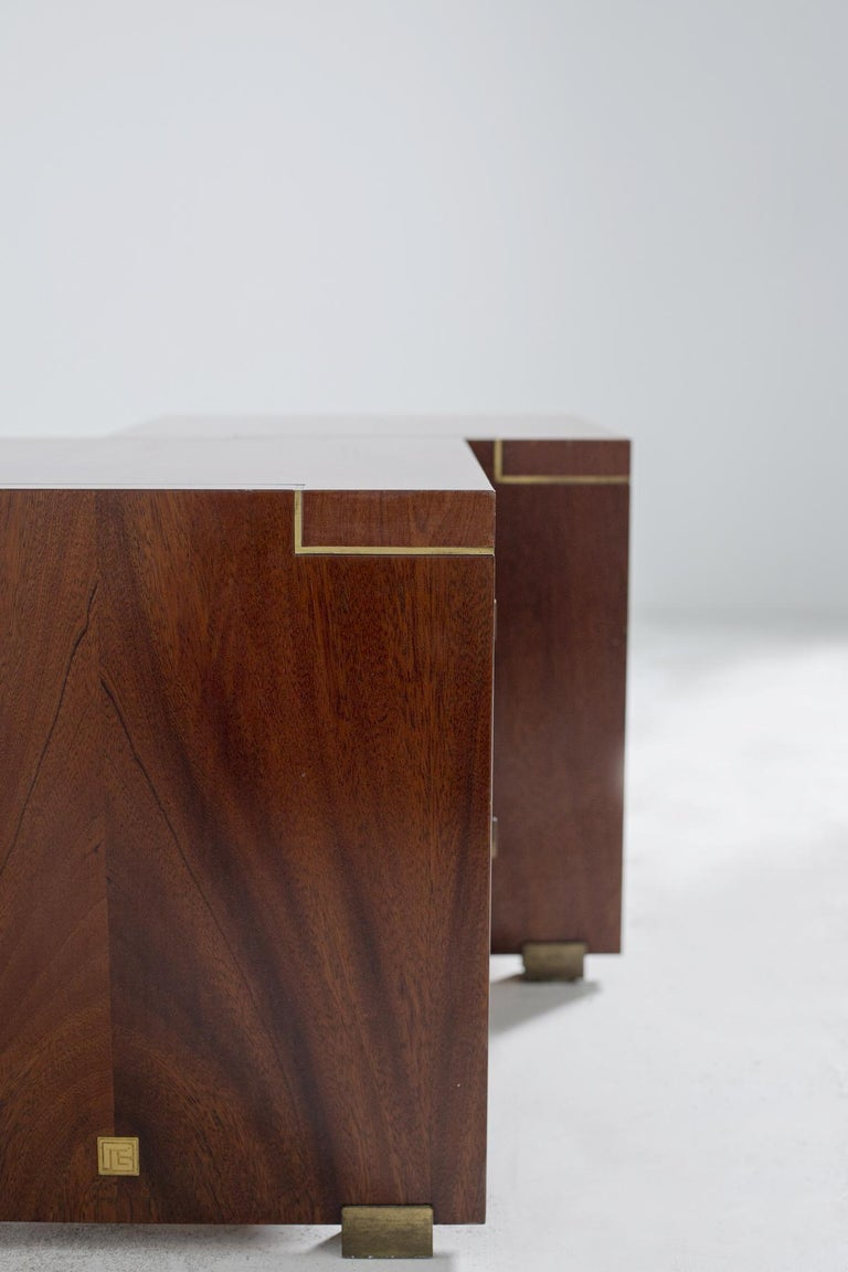 Pair of Pierre Balmain Original French Bedside Tables in Wood and Brass, 1980s For Sale 1