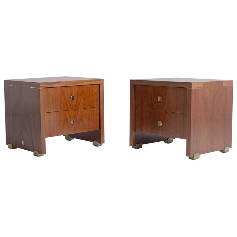 Pair of Pierre Balmain Original French Bedside Tables in Wood and Brass, 1980s For Sale